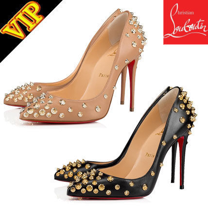 new concept 223e6 51d64 Christian Louboutin Studded Bi-color Leather Pin Heels ...
