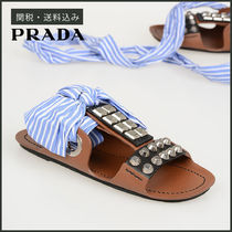 PRADA Stripes Open Toe Casual Style Studded Leather Sandals
