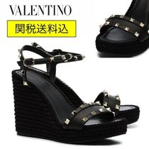 VALENTINO Open Toe Platform Studded Leather Elegant Style