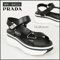 PRADA Open Toe Rubber Sole Casual Style Plain Leather