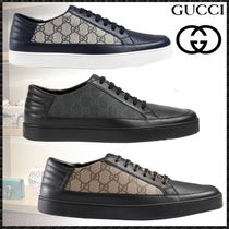 GUCCI Monogram Blended Fabrics Street Style Leather Sneakers