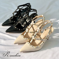 Casual Style Blended Fabrics Studded Plain Pin Heels