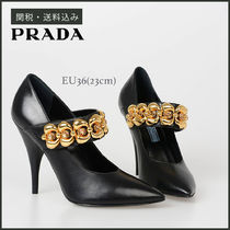 PRADA Chain Plain Leather Pin Heels Party Style With Jewels