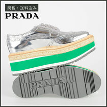 PRADA Plain Toe Rubber Sole Plain Leather Elegant Style