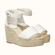 HERMES Open Toe Platform Plain Platform & Wedge Sandals