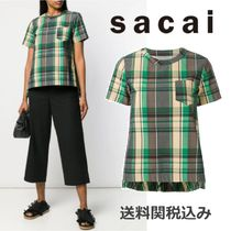 sacai Other Check Patterns Wool Short Sleeves Elegant Style