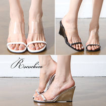 Open Toe Casual Style Blended Fabrics Bi-color Plain