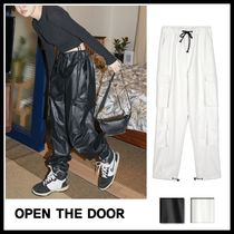 OPEN THE DOOR Unisex Faux Fur Street Style Plain Cargo Pants