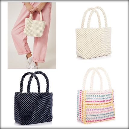Stripes Plain Party Style With Jewels Totes