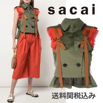 sacai Blended Fabrics Plain Cotton Elegant Style Khaki Vests