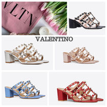 VALENTINO Open Toe Studded Chunky Heels Heeled Sandals