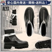 ALYX Round Toe Plain Leather Ankle & Booties Boots