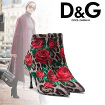 Dolce & Gabbana Flower Patterns Leopard Patterns Leather Pin Heels