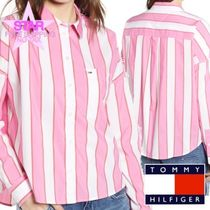 Tommy Hilfiger Stripes Casual Style Long Sleeves Cotton Medium