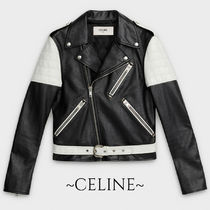 CELINE Unisex Street Style Leather Biker Jackets