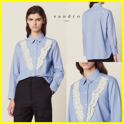 Stripes Long Sleeves Cotton Shirts & Blouses