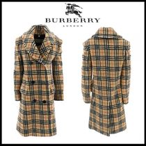 Burberry Tartan Casual Style Street Style Coats