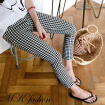 Other Check Patterns Casual Style Long Skinny Pants