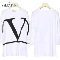 VALENTINO Casual Style Bi-color Cotton Medium Puff Sleeves