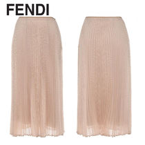 FENDI Pleated Skirts Plain Medium Elegant Style Midi Skirts