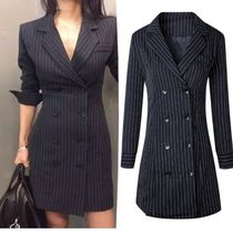 Stripes Long Office Style Jackets