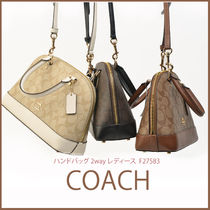 Coach Monogram Casual Style 2WAY Leather Handbags