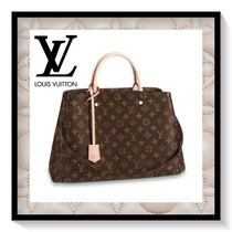 Louis Vuitton MONTAIGNE Monogram Canvas Blended Fabrics Office Style Handbags