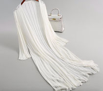 Casual Style Cropped Plain Long Gowns Cardigans