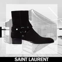 Saint Laurent Casual Style Unisex Plain Leather Ankle & Booties Boots