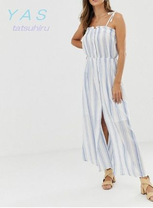 Stripes Casual Style Sleeveless Cotton Long Dresses