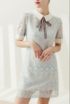 Short Short Sleeves Lace Elegant Style Dresses