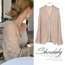 Cable Knit Casual Style Long Sleeves Medium Oversized