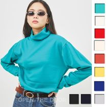 OPEN THE DOOR Unisex Street Style Long Sleeves Plain Cotton Turtlenecks