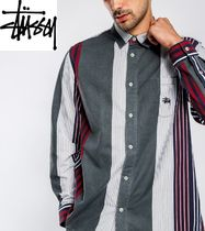 STUSSY Button-down Stripes Linen Long Sleeves Shirts