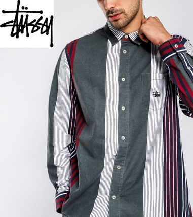STUSSY Shirts Button-down Stripes Linen Long Sleeves Shirts