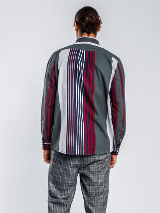 STUSSY Shirts Button-down Stripes Linen Long Sleeves Shirts 2