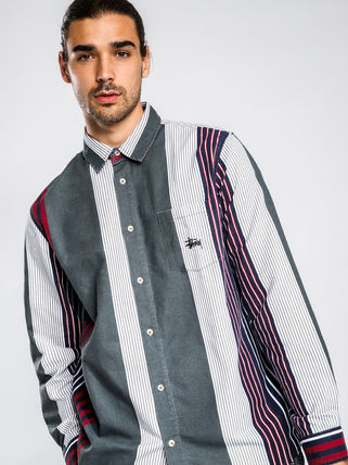 STUSSY Shirts Button-down Stripes Linen Long Sleeves Shirts 4