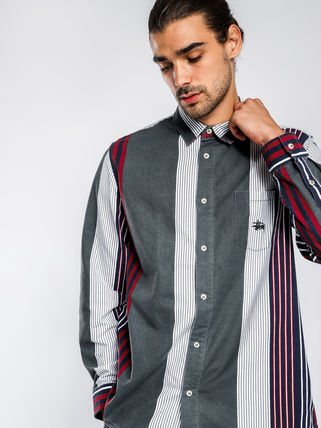 STUSSY Shirts Button-down Stripes Linen Long Sleeves Shirts 5