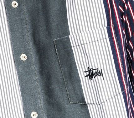 STUSSY Shirts Button-down Stripes Linen Long Sleeves Shirts 7