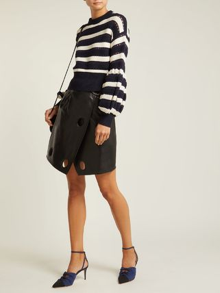 Crew Neck Short Stripes Cotton Puff Sleeves Cropped