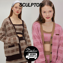 SCULPTOR Cable Knit Other Check Patterns Casual Style Street Style