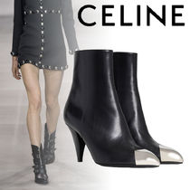 CELINE Plain Leather Block Heels Elegant Style High Heel Boots