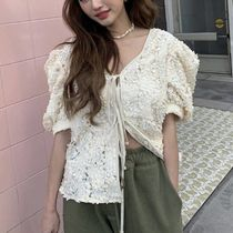 Flower Patterns Lace-up Puffed Sleeves Plain Medium Lace