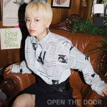 OPEN THE DOOR Unisex Street Style Long Sleeves Cotton Shirts & Blouses
