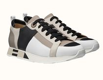 HERMES Blended Fabrics Street Style Plain Leather Handmade Sneakers
