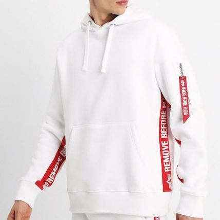 Street Style Long Sleeves Plain Cotton Logos on the Sleeves