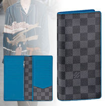 Louis Vuitton DAMIER GRAPHITE Unisex Calfskin Blended Fabrics Long Wallets