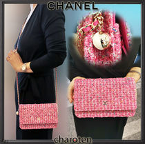 CHANEL CHAIN WALLET Blended Fabrics 3WAY Chain Elegant Style Shoulder Bags