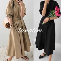 Casual Style Puffed Sleeves Plain Long Oversized Dresses