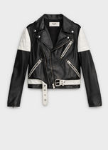 CELINE Short Bi-color Plain Leather Biker Jackets